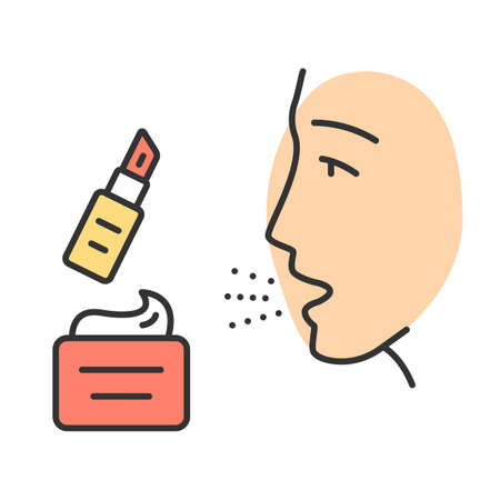 Cosmetic allergies color icon. Allergic reaction to beauty products. Allergens in skin cream and lipstick. Sensitivity to flavors and preservatives in makeup. Isolated vector illustration