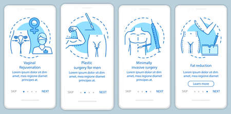 Plastic surgery center services onboarding mobile app page screen with linear concepts. Fat reduction. Four walkthrough steps graphic instructions. UX, UI, GUI vector template with illustrations