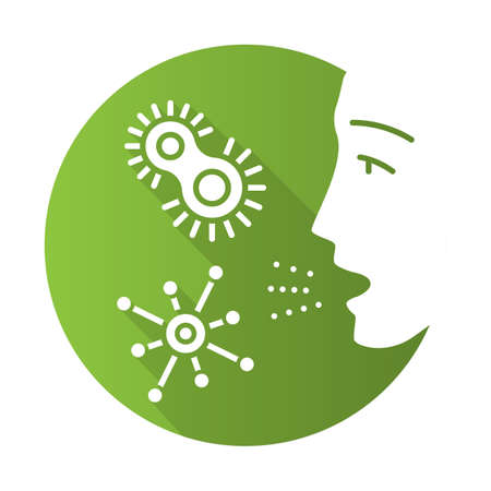 Dust allergy flat design long shadow glyph icon. Allergic reaction to bacteria. Pathogen inhalation. Protozoan diseases. Colds. Respiratory infections in air. Vector silhouette illustration