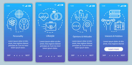 Psychographics targeting blue gradient onboarding mobile app page screen vector template. Walkthrough website steps with linear illustrations. UX, UI, GUI smartphone interface concept Фото со стока - 129557825