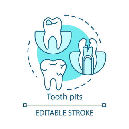Tooth pits concept icon. Enamel destruction, caries. General dental diseases. Oral troubles. Tooth decay and cavities idea thin line illustration. Vector isolated outline drawing. Editable stroke