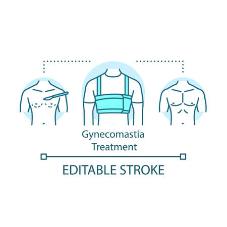 Gynecomastia treatment concept icon. Enlarged male idea thin line illustration. Breast reduction. Surgical correction. Vector isolated outline drawing. Editable stroke
