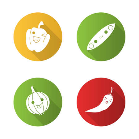 Vegetables cute kawaii flat design long shadow glyph characters set. Pea, onion with smiling faces. Winking paprika. Persevere chilli. Funny emoji, emoticon. Vector isolated silhouette illustration Illustration