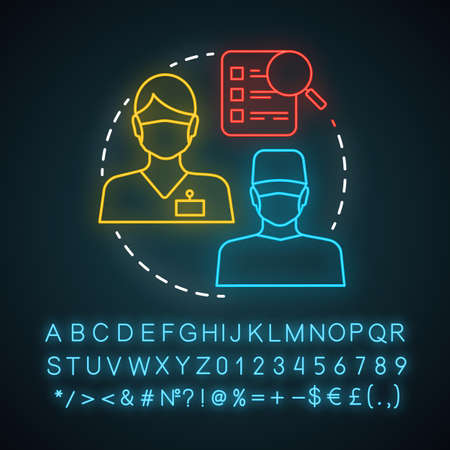 Select doctor neon light icon. Medical staff. Healthcare and medicine. Find specialist. General practitioner, therapist. Glowing sign with alphabet, numbers and symbols. Vector isolated illustration
