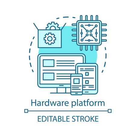 Hardware platform, computer technology concept icon. Computer components testing software idea thin line illustration. IT industry, programming. Vector isolated outline drawing. Editable stroke