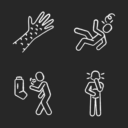 Infection, allergy symptoms chalk icons set. Skin rash allergic reaction. Asthma, bronchitis. Dizziness, fainting. Rubeola, measles contagious disease. Isolated vector chalkboard illustrations