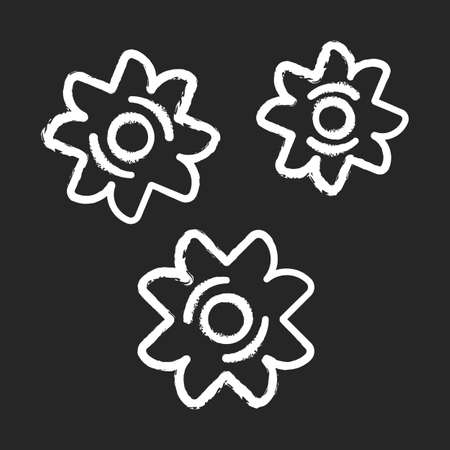 Stele pasta chalk icon. Little star-shaped pieces of dough. Semi-finished product for soup. Type of pastina. Traditional Italian meal. Mediterranean cuisine. Isolated vector chalkboard illustration 일러스트