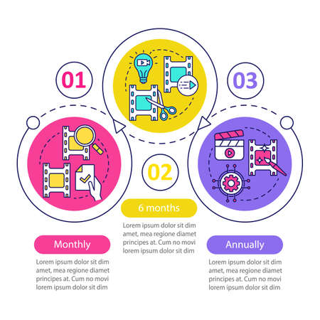 Video editor subscription vector infographic template. Monthly tariff. Business presentation design elements. Data visualization, three steps. Process timeline chart. Workflow layout, linear icons Ilustracje wektorowe