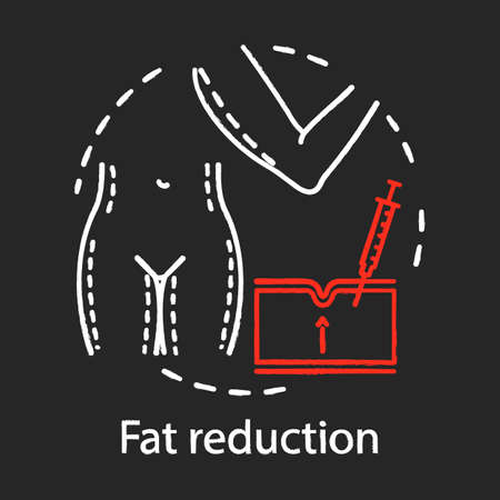 Fat reduction chalk icon. Non-surgical operation. Weight loss. Fat removal treatment. Plastic surgery center service. Medical instruments. Isolated vector chalkboard illustration Ilustrace