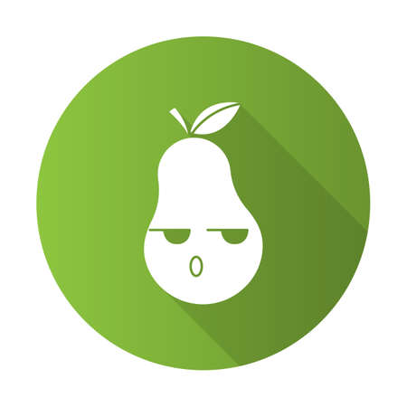 Pear cute kawaii flat design long shadow glyph character. Serious fruit with smiling face. Embarrassed, dissatisfied and sad food. Funny emoji, emoticon. Vector isolated silhouette illustration