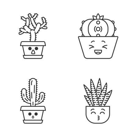 Kakteen süße kawaii lineare Charaktere. Gedämpfte Elefantenkakteen. Lachender Peyote-Kaktus mit traurigem Gesicht. Küssen von Zebra-Heimkakteen. Dünne Linie Symbolsatz. Isolierte Umrissillustration des Vektors. Bearbeitbarer Strich Vektorgrafik
