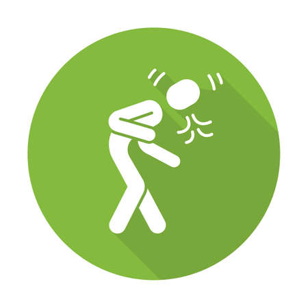 Coughing, sneezing flat design long shadow glyph icon. Allergic asthma. Flu, cold, respiratory disease, bronchitis symptom. Spring, summer pollen seasonal allergy. Vector silhouette illustration