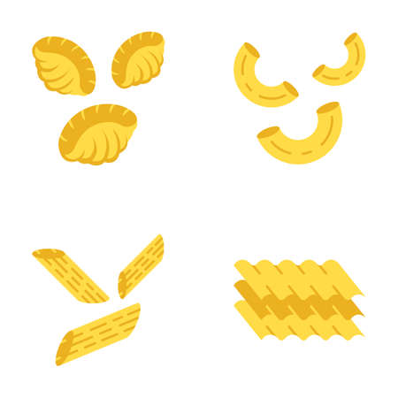 Pasta noodles flat design long shadow color icons set. Different Mediterranean macaroni. Shells, elbows, penne, lasagne sheets. Traditional Italian cuisine. Vector silhouette illustrations