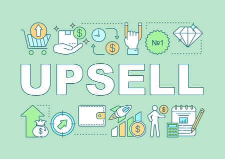 Upsell word concepts banner. Increasing cost of order. Offer to buy more expensive product. Presentation, website. Isolated lettering typography idea with linear icons.  イラスト・ベクター素材