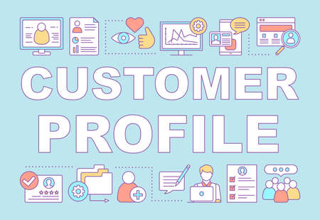 Customer profile word concepts banner. Purchase history. CRM software. Client identity. Presentation, website. Isolated lettering typography idea with linear icons. Vector outline illustration