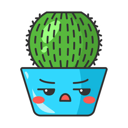 Barrel cactus cute kawaii vector character. Cactus with angry face. Echinocactus home cacti in pot. Flushed plant with frowning eyebrows. Funny emoji, emoticon. Isolated cartoon color illustration