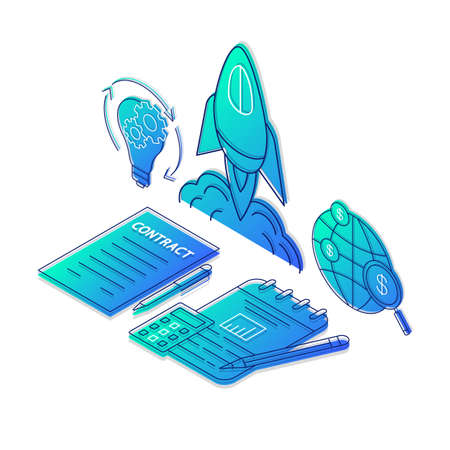 Startup launch isometric vector illustration. Project financing and budgeting linear icons infographic.  Business start and development. Investment 3d concept. Gradient isolated design elements set Ilustração