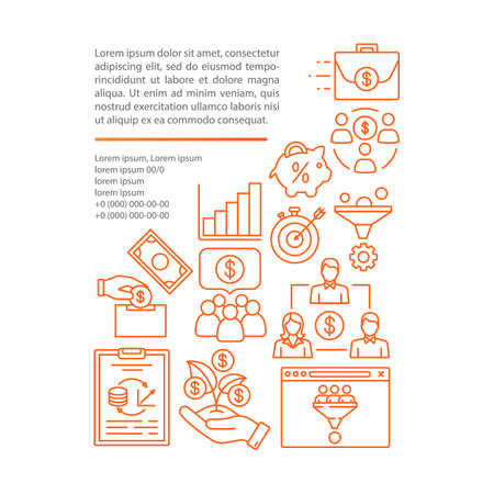 Business investment article page vector template. Crowdfunding. Brochure, magazine, booklet design element with linear icons and text boxes. Print design. Concept illustrations with text space