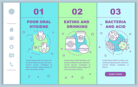 Causes of tooth diseases onboarding mobile web pages vector template. Responsive smartphone website interface idea with linear illustrations. Webpage walkthrough step screens. Color concept