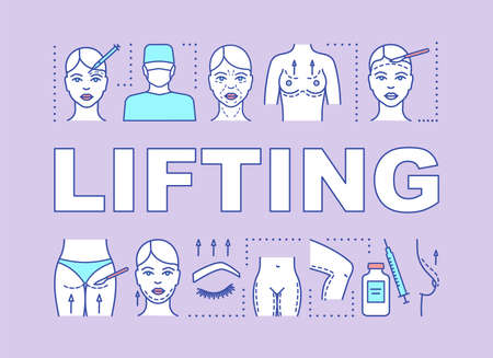 Lifting word concepts banner. Cosmetic surgical procedure. Body, face lift. Rejuvenation. Presentation, website. Isolated lettering typography idea with linear icons. Vector outline illustration