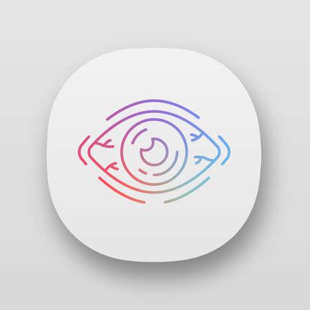 Allergic conjunctivitis app icon. Dry eye, inflammation, irritation, redness. Seasonal tree pollen allergy symptom. UIUX user interface. Web or mobile application. Vector isolated illustration
