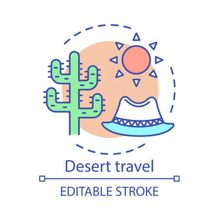 Desert travel concept icon. Travel experience idea thin line illustration. Extreme tourism. Wild animals and plants observation. Succulents. Vector isolated outline drawing. Editable stroke Иллюстрация