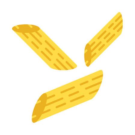 Penne flat design long shadow color icon. Italian noodles. Pasta. Pennoni, mostaccioli. Straight cut diagonally macaroni. Mediterranean food. Short dough tubes. Vector silhouette illustration