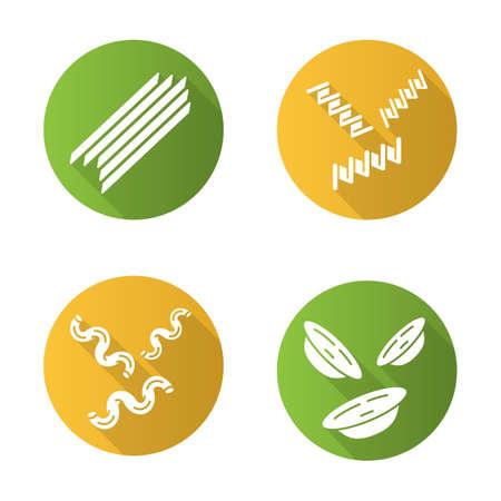 Pasta noodles flat design long shadow glyph icons set. Spaghetti, fusilli, cavatappi, orecchiette. Italian food. Mediterranean macaroni. Culinary semi-finished products. Vector silhouette illustration