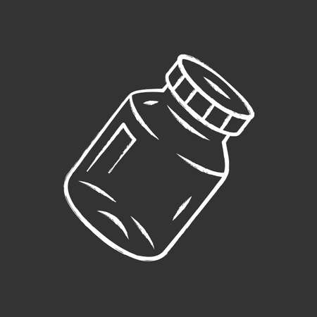 Refillable spice jar chalk icon. Reusable container for pepper, salt. Eco-friendly glassware, mason jar. Isolated vector chalkboard illustration