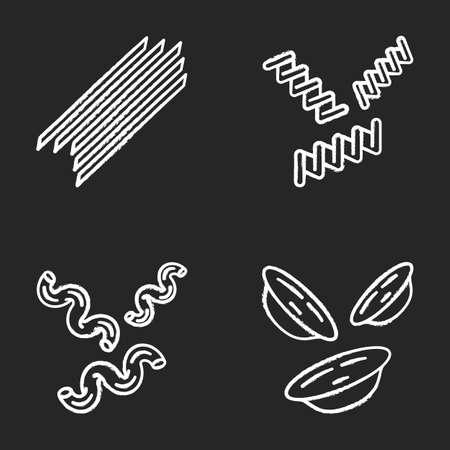 Pasta noodles chalk icons set. Spaghetti, fusilli, cavatappi, orecchiette. Italian dried dough food. Mediterranean macaroni. Culinary semi-finished products. Isolated vector chalkboard illustrations