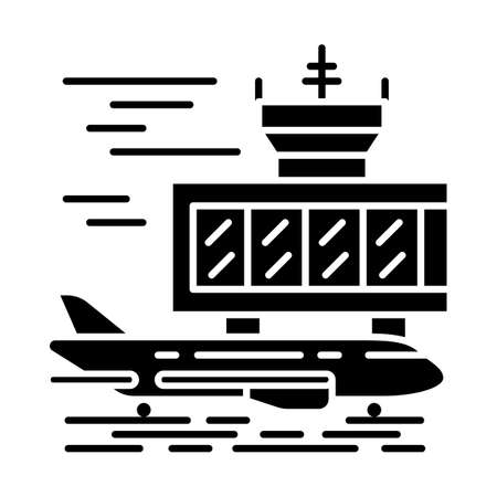 Airport outside glyph icon. Plane runway. Airplane landing strip. Aerodrome building. Jet airfield. Aviation service. Air terminal. Silhouette symbol. Negative space. Vector isolated illustration