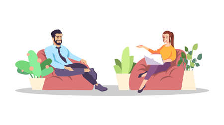 Journalistic interview flat vector illustration. Coworking, lounge zone. Coworkers, colleagues small talk, conversation. Journalist, interviewer with businessman communicating cartoon characters Illustration