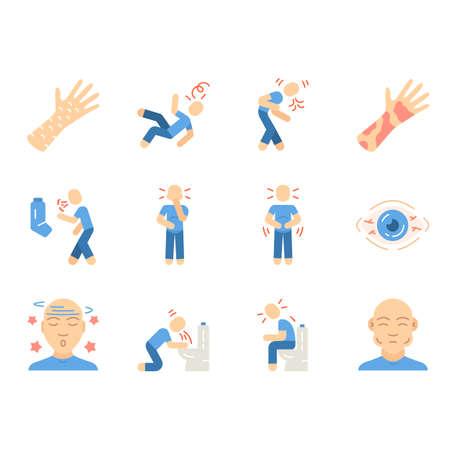 Allergy symptoms flat design long shadow color icons set. Allergic reaction. Conjunctivitis, contact dermatitis. Flu, infection. Summer, spring seasonal disease. Vector silhouette illustrations