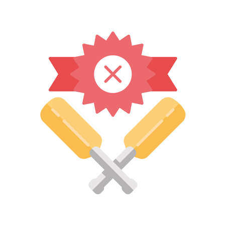 Cricket defeat flat design long shadow color icon. Total game result. Championship loss. Loser mark, crossed bats. Game over. End of play. Match draw. Sports activity. Vector silhouette illustration Ilustração