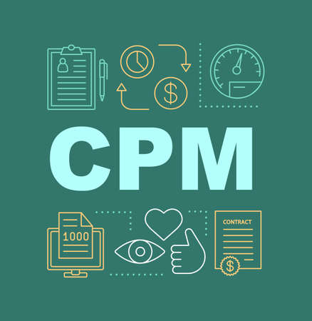 CPM word concepts banner. Pay per one thousand views, impressions. Isolated lettering typography idea with linear icons. SMM. Social media marketing. Avertising campaign. Vector outline illustration