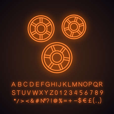 Rotelle neon light icon. Wagon wheels shaped pasta. Ruote noodles. Italian cuisine. Culinary semi-finished product. Glowing sign with alphabet, numbers and symbols. Vector isolated illustration