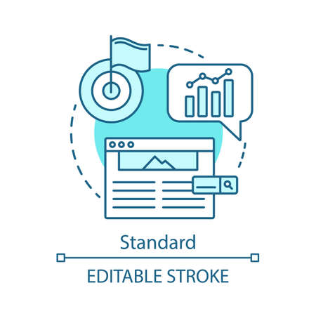 Standard concept icon. SEO keyword tool subscription idea thin line illustration. Search engine optimization. Vector isolated outline drawing. Increasing visibility of website. Editable stroke Иллюстрация