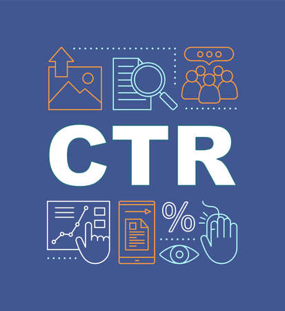 CTR word concepts banner. Click-through rate. Website traffic. Presentation. Isolated lettering typography idea with linear icons. Conversion rate. SMM metrics and tools. Vector outline illustration