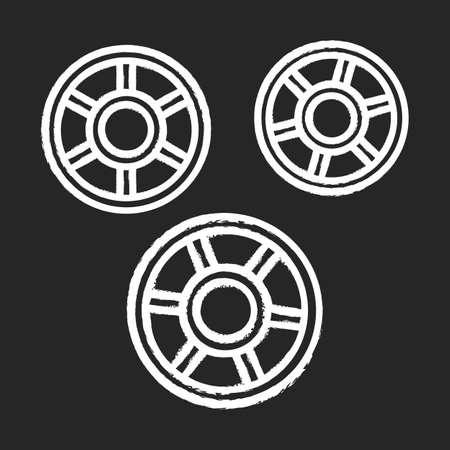 Rotelle chalk icon. Wagon wheels shaped pasta. Raw uncooked ruote noodles. Traditional Italian cuisine. Culinary semi-finished product for soup or garnish. Isolated vector chalkboard illustration