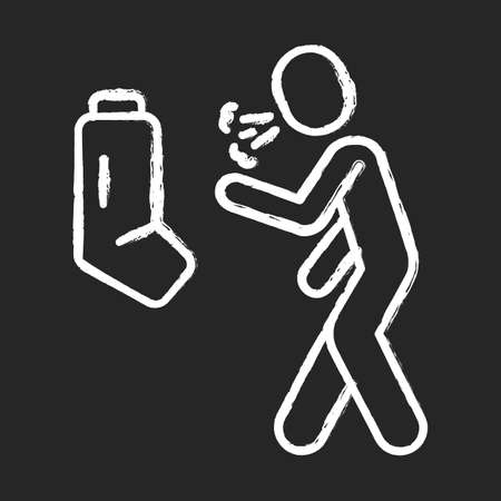 Allergic asthma, anaphylaxis chalk icon. Asthmatic using inhaler. Bronchospasm allergy symptom. Wheezing, shortness of breath prevention, cough treatment. Isolated vector chalkboard illustration