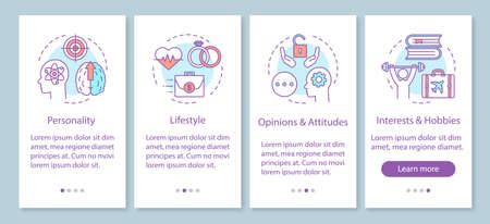 Psychographics targeting onboarding mobile app page screen with linear concepts. Personality lifestyle walkthrough steps graphic instructions. UX, UI, GUI vector template with illustrations Фото со стока - 129557896