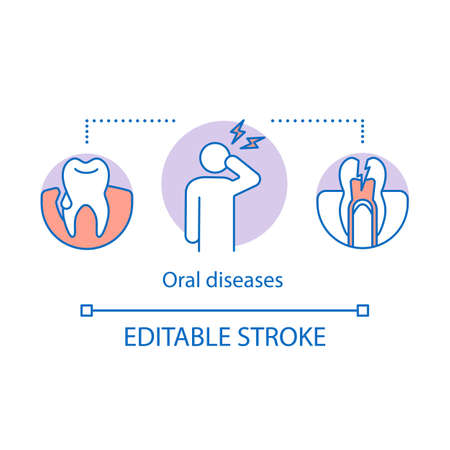 Oral diseases concept icon. Sick, broken teeth. Need for emergency dental care. Odontic problems. Causes of toothache idea thin line illustration. Vector isolated outline drawing. Editable stroke