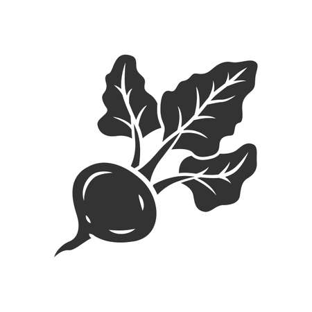 Beet glyph icon. Agriculture plant. Soup ingredient. Vitamin and diet. Organic food. Healthy food. Vegetarian nutrition. Vegetable farm. Silhouette symbol. Negative space. Vector isolated illustration
