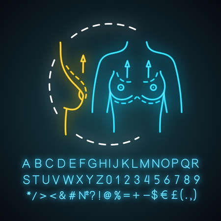 Breast lift neon light icon. Breast raise surgery. Mastopexy. Cosmetic procedure. Plastic surgery. Glowing sign with alphabet, numbers and symbols. Vector isolated illustration Ilustração