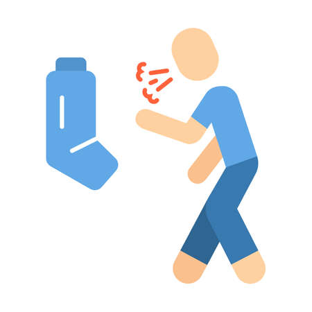 Allergic asthma flat design long shadow color icon. Asthmatic using inhaler. Bronchospasm allergy symptom. Wheezing, shortness of breath prevention, cough treatment. Vector silhouette illustration