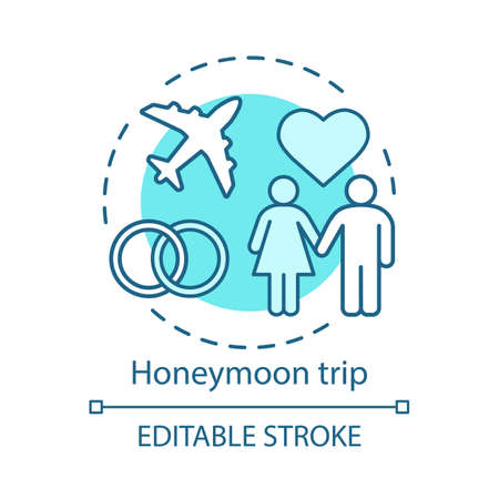 Honeymoon trip concept icon. Travel style idea thin line illustration. Newlyweds holiday. Romantic voyage. City tours. Family tourism. Vector isolated outline drawing. Editable stroke Иллюстрация