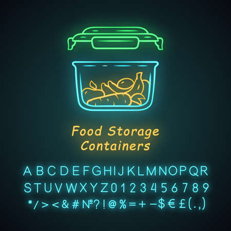 Food storage container neon light icon. Plastic food packaging. Reusable lunch box. Fresh fruits, vegetables storage. Glowing sign with alphabet, numbers and symbols. Vector isolated illustration
