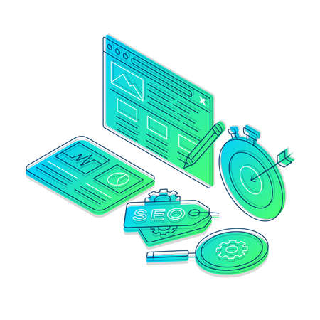 SEO isometric gradient vector illustration. Digital marketing, SMM linear icons infographic. Traffic conversions, lead generation. Target ads, copywriting. Search engine optimization 3d concept Иллюстрация