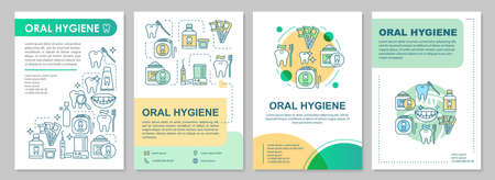 Oral hygiene brochure template layout. Prevent tooth decay. Flyer, booklet, leaflet print design with linear illustrations. Vector page layouts for magazines, annual reports, advertising posters Ilustrace