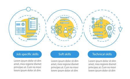 Job skills vector infographic template. Business presentation design elements. Employment. Data visualization with 3 steps and options. Process timeline chart. Workflow layout with linear icons Stock Vector - 129557907